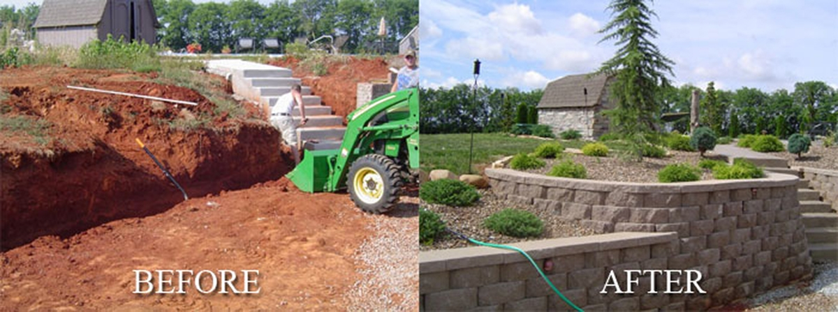Unique Hardscapes stone retaining wall before and after